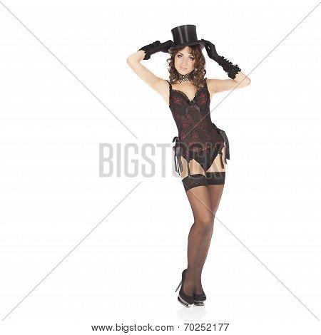 one sexy burlesque dancer woman stripper showgirl in studio