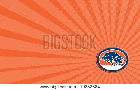 Business Card European Bison Charging Oval Retro