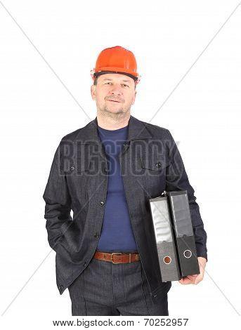 Engineer holding folders.