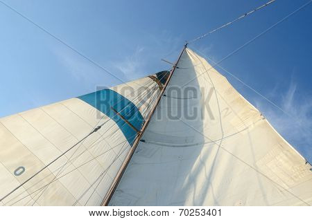 Old Boat Standing And Running Rigging - Mainsail,staysaill,mast And Crosspieces And Backstays