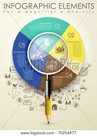 Creative Template With Pencil Combine Magnifying Glass Infographic