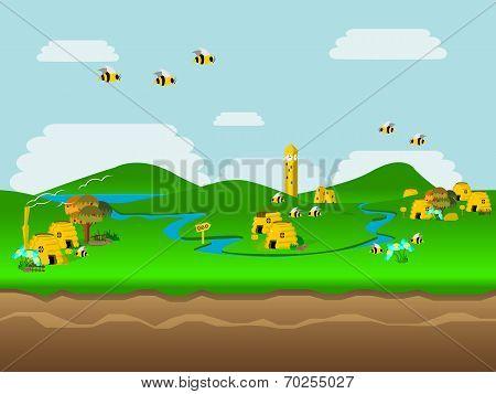World of Bees Vector Illustration