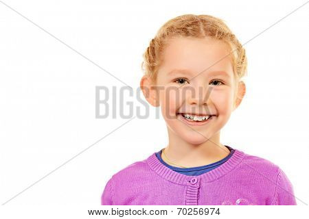 Portrait of little smiling girl. Isolated white backround.