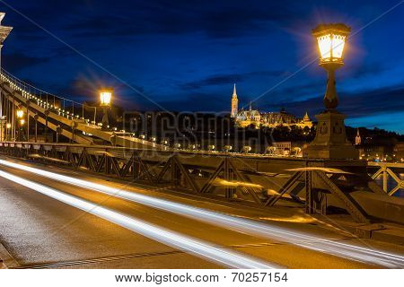 View Of Fisherman's Bastion From Chain Bridge Budapest