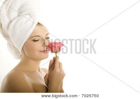Close-up Portrait Of Young Beautiful Woman With Healthy Pure Skin And Wet Hair In A Towel