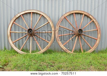 Antique Cart Wheels.