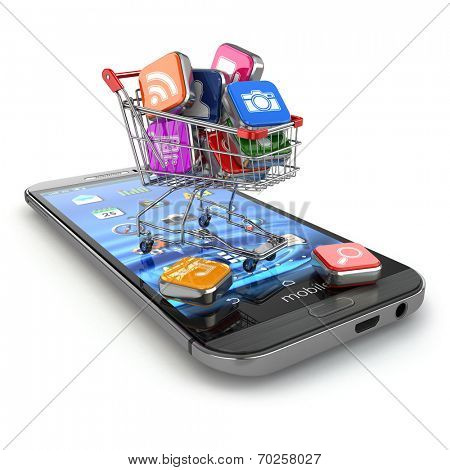 Store of mobile software. Smartphone apps icons in shopping cart. 3d