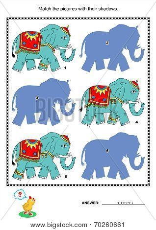 Match to shadow game - elephants