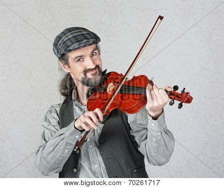 Smiling Irish Fiddler Performing