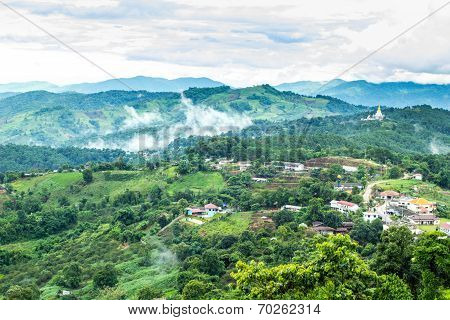 Natural landscape of village in the mountain