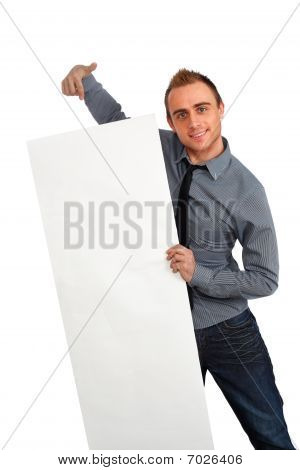 Businessman Pointing At Banner