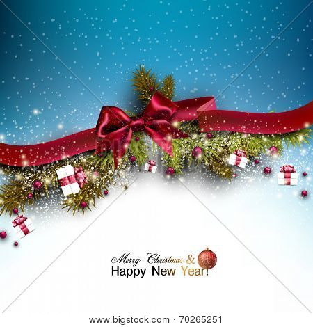 Christmas background with fir twigs garland and Xmas balls. Red bow. Vector illustration.