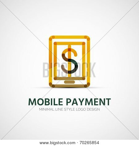 Vector tablet mobile payment company logo design, business symbol concept, minimal line design