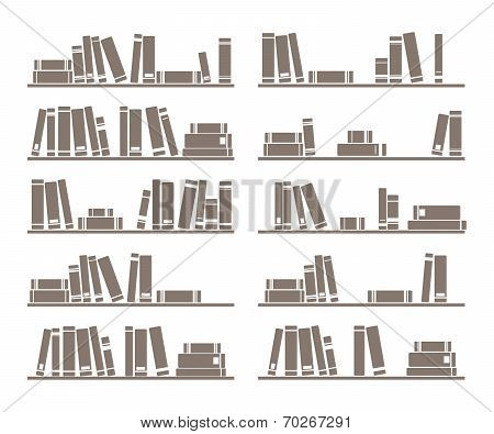 Books on shelf vector illustration isolated on white background
