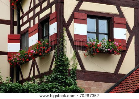 Window Decorated With Flower In Nuremberg