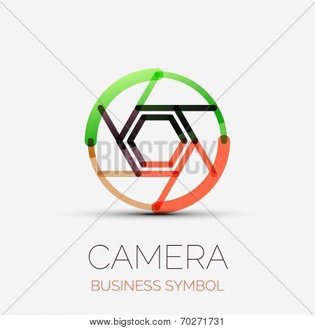 Vector shutter icon company logo design, business symbol concept, minimal line design