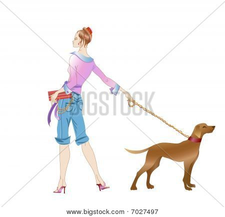 Girl And A Dog