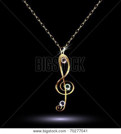 pendant with a treble clef