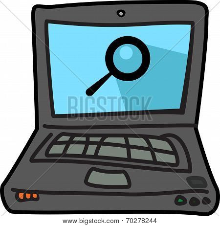 Computer Illustration Icon With Search Symbol