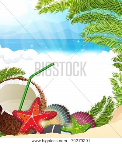 Tropical Background With  Palm Trees And Coconut Cocktail