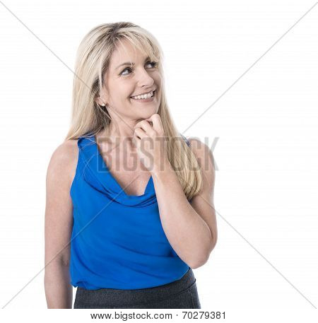 Beautiful Isolated Mature Woman In Blue - Happy And Looking Sideways.