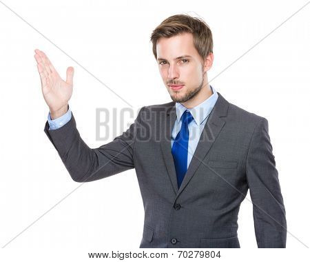 European businessman with hand presentation