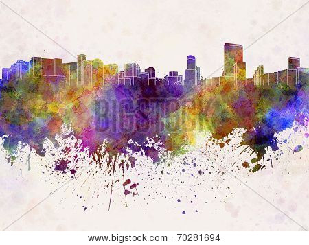 Orlando Skyline In Watercolor Background