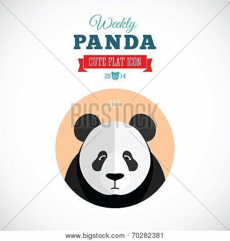 Weekly Panda Cute Flat Animal Icon - Sad