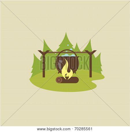 Camp fire illustration