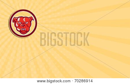 Business Card Angry Bulldog Mongrel Head Circle Retro