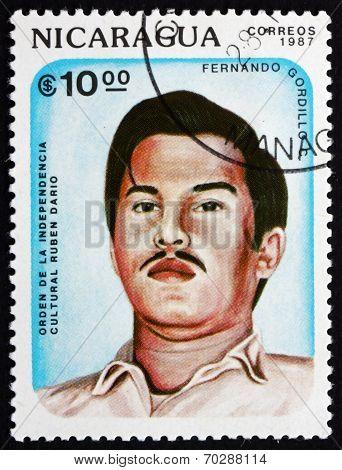 Postage Stamp Nicaragua 1987 Fernando Gordillo C., Poet