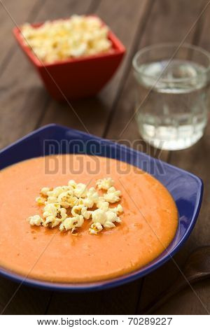 Ecuadorian Tomato Soup with Popcorn
