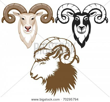 Set of stylized goats head. Goat - symbol of year 2015.