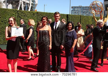 LOS ANGELES - AUG 16:  Megan Weaver, Jenni Pulos, Jeff Lewis, Zoila Chavez at the 2014 Creative Emmy Awards - Arrivals at Nokia Theater on August 16, 2014 in Los Angeles, CA