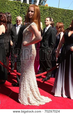LOS ANGELES - AUG 16:  Sarah Rafferty at the 2014 Creative Emmy Awards - Arrivals at Nokia Theater on August 16, 2014 in Los Angeles, CA