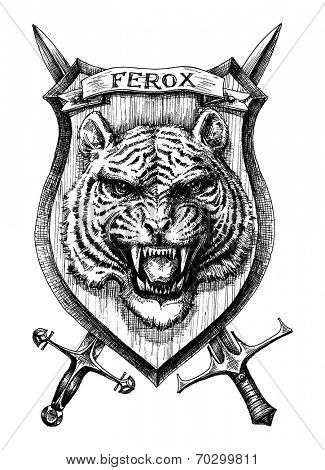 Heraldic shield tiger head, detailed hand drawn vector