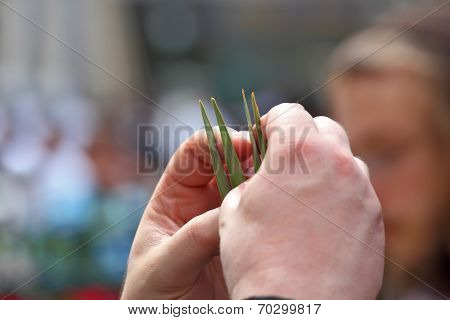 BNEI BRAK, ISRAEL- SEPTEMBER 22, 2010: Jewish autumn holiday of Sukkot. Beautiful man's hands hold ritual a plant lulav