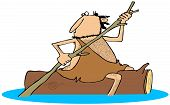 pic of straddling  - This illustration depicts a caveman straddling a floating log and paddling with a tree branch - JPG
