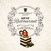 picture of sponge-cake  - Decorative sweets dessert restaurant menu with sponge cake vector illustration - JPG