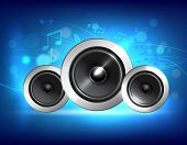 picture of subwoofer  - Audio speakers subwoofer system on blue music background concept vector illustration - JPG