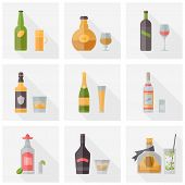 image of bailey  - Flat icons set of popular various alcoholic beverages with glasses - JPG