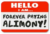 picture of modifier  - Hello I Am Forever Paying Alimony words on a nametag or sticker as financial obligation or legal settlement of financial payments - JPG