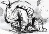 image of judo  - An hand drawn illustration  - JPG