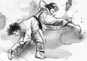 image of judo  - An hand drawn illustration  - JPG