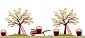 picture of hand-barrow  - vector seamless border with cherry trees - JPG