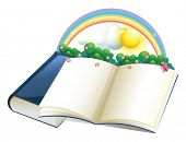 picture of storybook  - Illustration of a storybook with a rainbow and plants on a white background - JPG