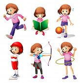 stock photo of hulahoop  - Illustration of a young girl doing different activities on a white background - JPG