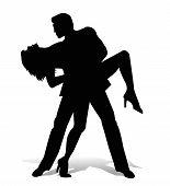 stock photo of tango  - vector dancer tango silhouette on white background - JPG
