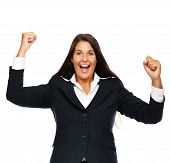 foto of adversity humor  - Business woman celebrating winning success - JPG