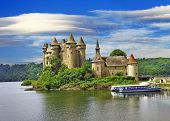 stock photo of chateau  - beautiful fairy castle in lake  - JPG